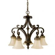 Drawing Room 5 Light Chandelier in a Walnut Finish with Amber Snow Scavo Glass Shades - FEISS FE/DRAWING RM5